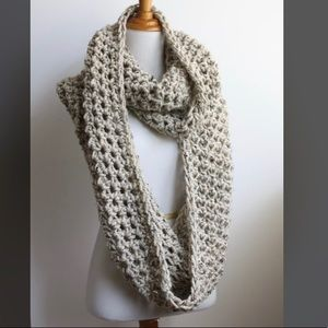 Oversized cream wool infinity scarf